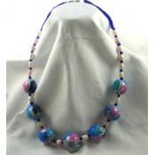 Colier fimo Mozaic perle albe si nisip bleu